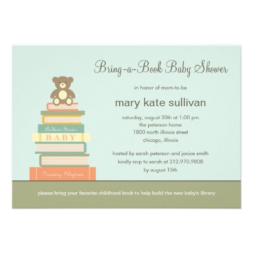 Bring A Book Baby Shower Invitation (Blue) Personalized Invitations