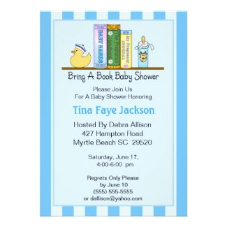 Bring a Book Baby Shower Invitation (Boy)