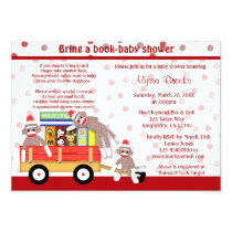 Bring a book baby shower invitation sock monkey