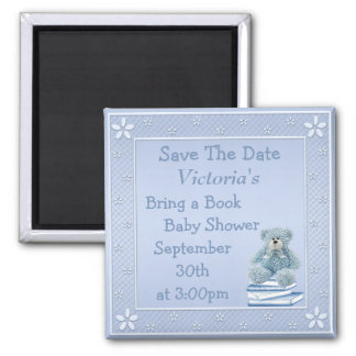 Bring a Book Blue Teddy Baby Shower Save the Date 2 Inch Square Magnet