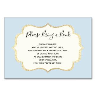 Bring a Book - Blue White BOY Baby Shower Cards