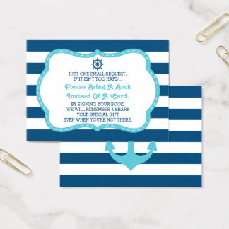 Bring A Book Card, Ahoy, Nautical, Baby Shower Business Card