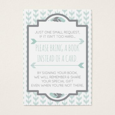 Aztec Themed Bring A Book Card, Aztec, Arrows, Baby Shower Business Card