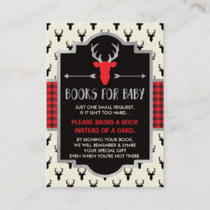 Bring A Book Card, Buffalo Plaid, Baby Shower Enclosure Card