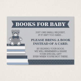 Bring A Book Card, Little Man, Teddy Bear Business Card