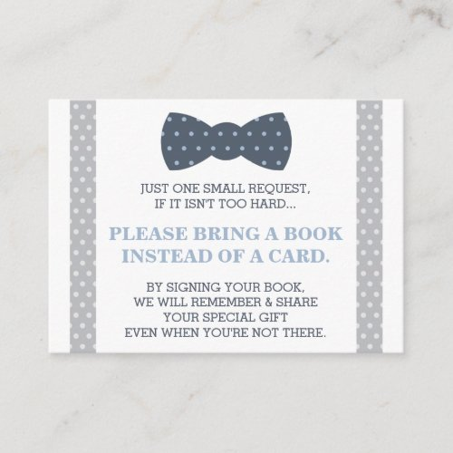Bring A Book Card Little Man Teddy Bear Enclosure Card