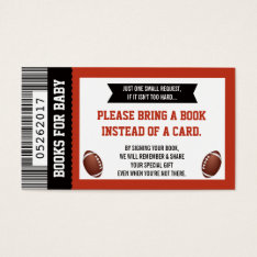 Bring A Book Card, Sports Ticket, Baby Shower Business Card at Zazzle