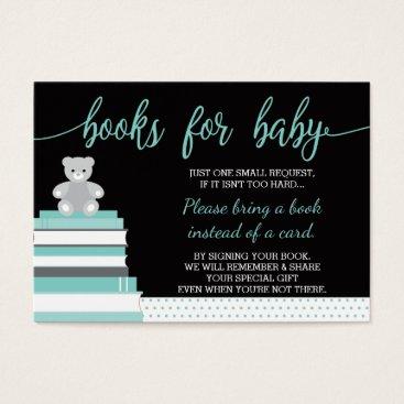 McTiffany Tiffany Aqua Bring A Book Card, Teddy Bear, Books, Baby Shower Business Card
