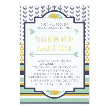 Aztec Themed Bring A Book Card, Tribal, Aztec, Baby Shower Card