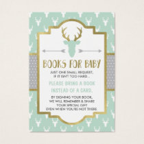 Bring A Book Card, Woodland Deer, Baby Shower Business Card
