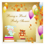 Bring a Book Elegant Baby Boy Gold Baby Shower Personalized Invitation