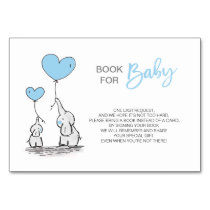 Bring a Book - Elephant Blue BOY Baby Shower Table Number