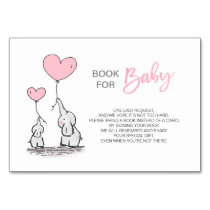 Bring a Book - Elephant Pink Girl Baby Shower Table Number