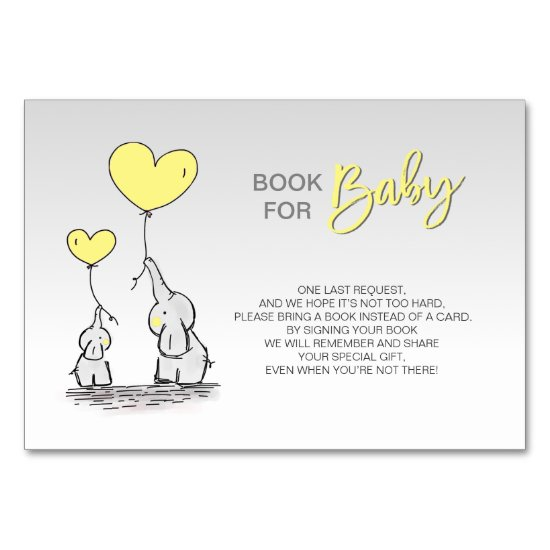 Bring a Book - Elephant YELLOW Grey Baby Shower Table Number