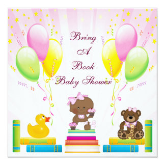 Bring a Book Ethnic Girl & Cupcakes Baby Shower Custom Invitations