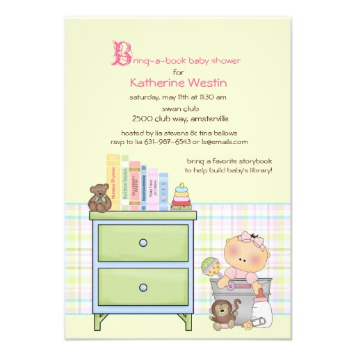bring a book girl baby shower invitation 3 5 x 5 invitation card