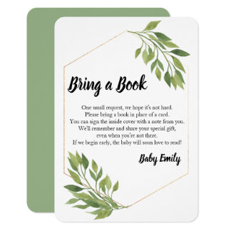 Bring a book greenery elegant Baby Shower Card