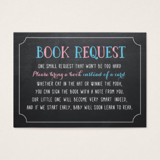 Bring a Book instead of a card, gender reveal Business Card