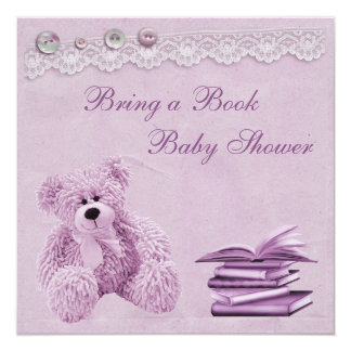 Bring a Book Lilac Teddy Vintage Lace Baby Shower Personalized Invite
