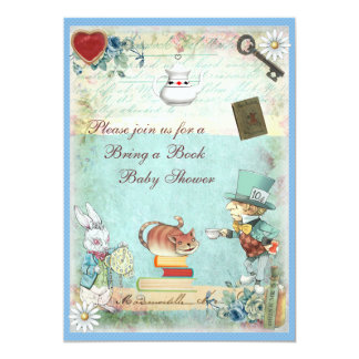 Bring a Book Mad Hatter & Cheshire Cat Baby Shower 5x7 Paper Invitation Card
