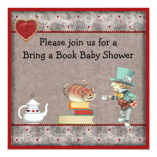 Bring a Book Mad Hatter & Cheshire Cat Baby Shower Card