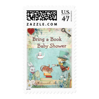 Bring a Book Mad Hatter & Cheshire Cat Baby Shower Postage
