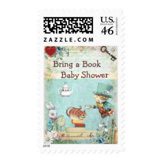 Bring a Book Mad Hatter Cheshire Cat Baby Shower Postage Stamp
