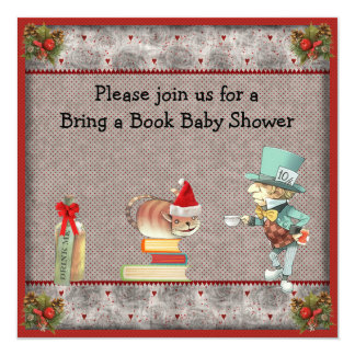 Bring a Book Mad Hatter Christmas Baby Shower Card