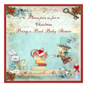 Bring a Book Mad Hatter Christmas Baby Shower Personalized Invitation