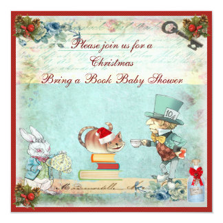 """Bring a Book Mad Hatter Christmas Baby Shower 5.25"""" Square Invitation Card"""