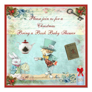 Bring a Book Mad Hatter Christmas Baby Shower Invitation