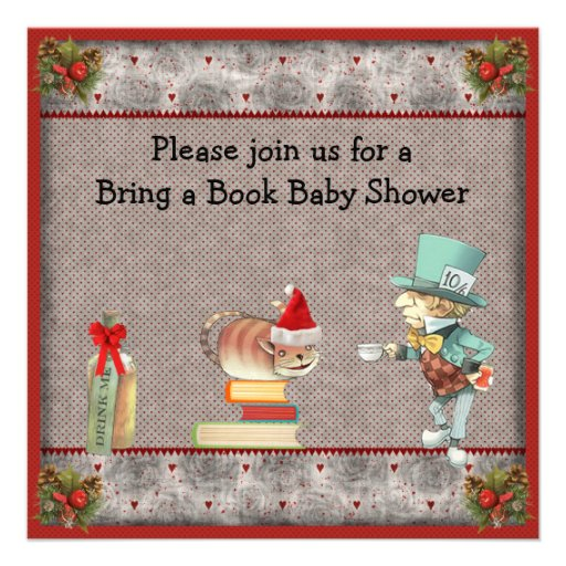 bring a book mad hatter christmas baby shower square invitation