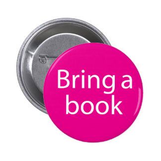 Bring a Book Magenta Pinback Buttons