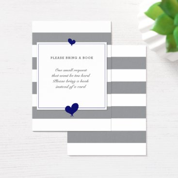 Valentines Themed Bring a Book Navy Hearts Grey Striped Baby Shower Business Card