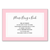 Bring a Book - Pink White Girl Baby Shower Cards