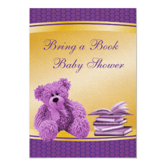 Bring a Book Purple Teddy & Hearts Baby Shower Announcements