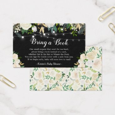Toddler & Baby themed Bring a Book Request White Rose Floral Baby Shower Business Card