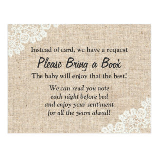 Bring a Book Rustic Lace Burlap Baby Shower Insert Postcard