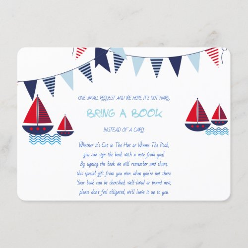Bring a Book Sailboats Nautical Custom Enclosure Card