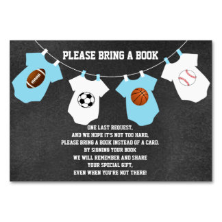 Bring a Book - Sports Chalkboard Baby Shower Cards