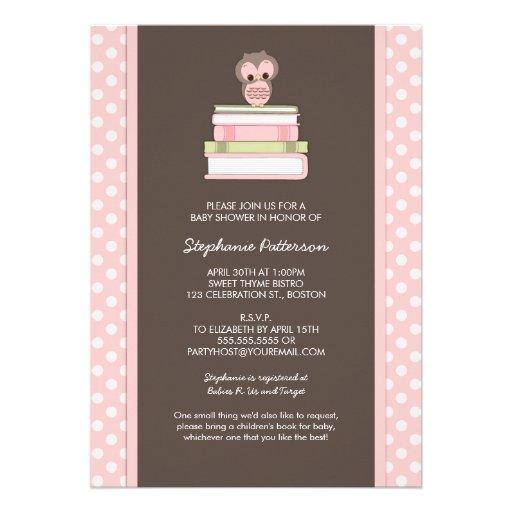Bring A Book Sweet Girl Owl Baby Shower Invitation (back side)
