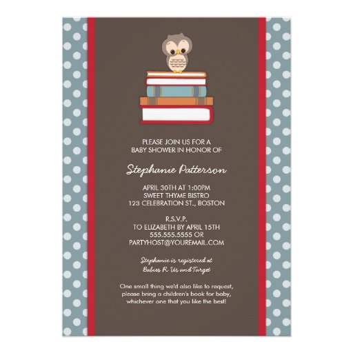 Bring A Book Sweet Owl Baby Shower Invitation (back side)