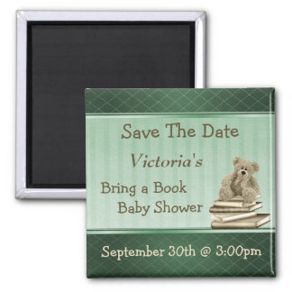 Bring a Book Teddy Baby Shower Save the Date 2 Inch Square Magnet