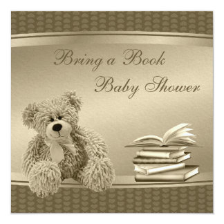 """Bring a Book Teddy & Hearts Neutral Baby Shower 5.25"""" Square Invitation Card"""