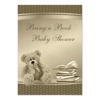 "Bring a Book Teddy & Hearts Neutral Baby Shower 5"" X 7"" Invitation Card"