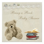 Bring a Book Teddy Vintage Lace Baby Shower Card