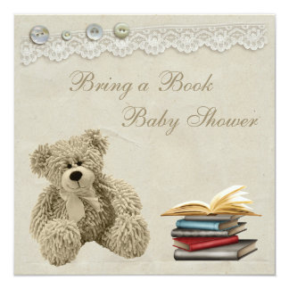 """Bring a Book Teddy Vintage Lace Baby Shower 5.25"""" Square Invitation Card"""