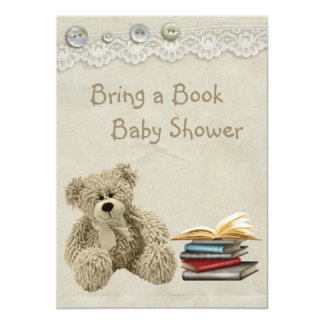 Bring a Book Teddy Vintage Lace Print Baby Shower 4.5x6.25 Paper Invitation Card