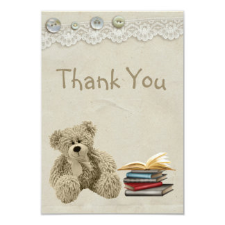 Bring a Book Teddy Vintage Lace Print Thank You 3.5x5 Paper Invitation Card