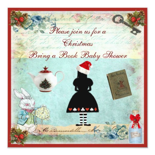 Bring a Book Wonderland Christmas Baby Shower 5.25x5.25 Square Paper Invitation Card